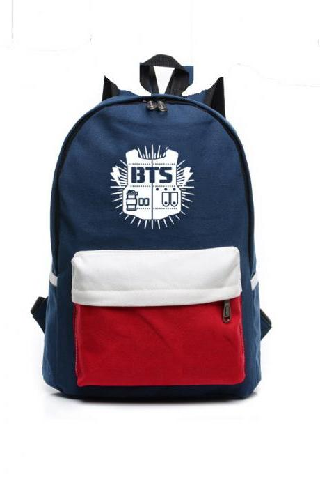 Contrast Color Canvas Letter Print School Backpack