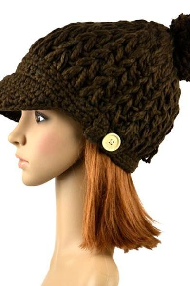 Women's Wool Winter Hat Thick line hat Ball Cute Hat Warm Flight Hat Peaked Cap