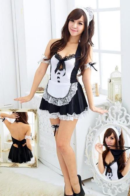 Sexy Lace Sleeveless Maid role play Suite Dress