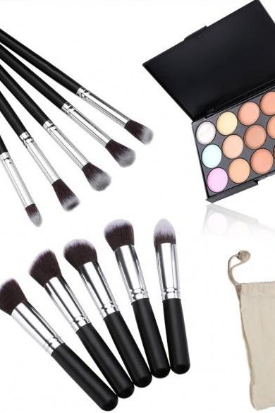 Professional 15 Colors Makeup Face Cream Concealer Palette + 10 PCS Cosmetic Brushes Kit Set