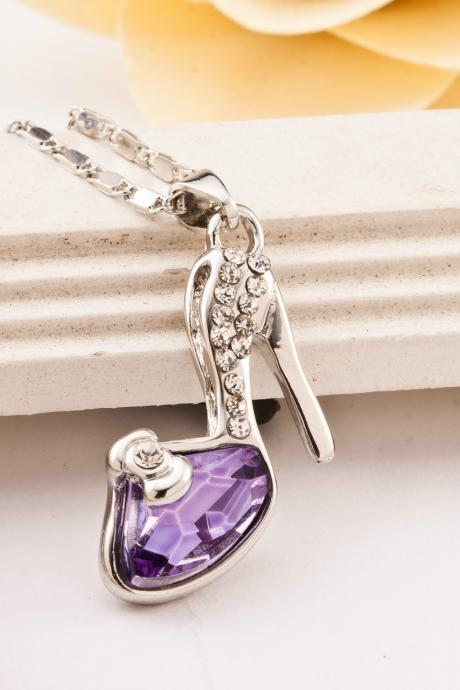 Korean Personalized High Heels Crystal Pendant Clavicle Necklace