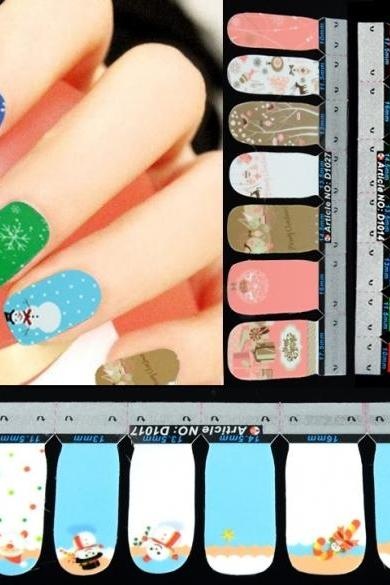 42Pcs Christmas Nail Art Sticker Full Wrap Patch Decal