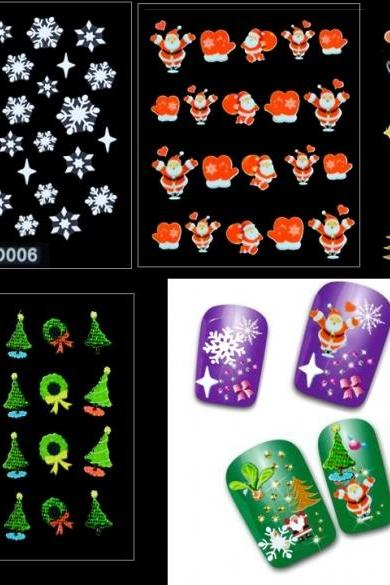 12 Sheets Christmas Snowflakes Santa Trees Design Nail Art Stickers Decals