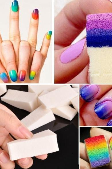 50 Pcs New Fashion Nail Art Sponge Transfer Kit Nail Sponge Clean Tool