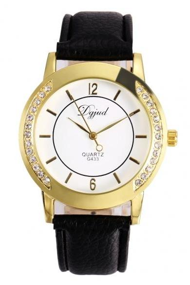 Women Fashion Synthetic Leather Large Dial Quartz Analog Rhinestone Wrist Watch