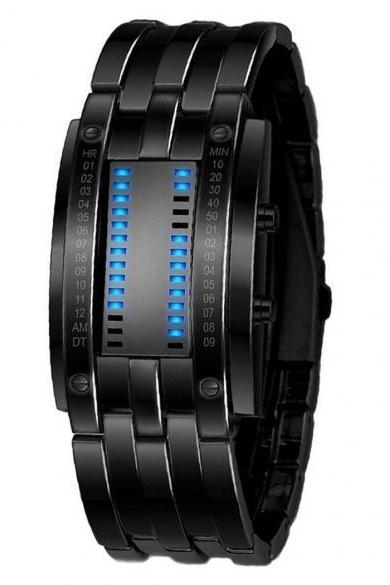 Unisex Men Women Stainless Steel Date Binary Digital LED Bracelet Sport Watches