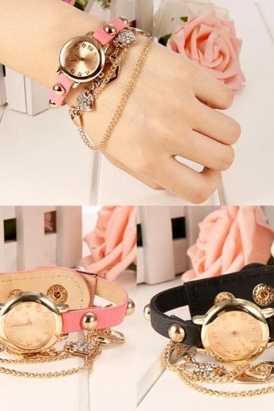 Hot Women Faux Leather Strap Round Dial Quartz Watch Heart Chain Bracelet Wrist Watch