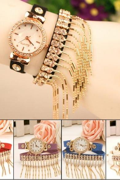 Hot Fashion Lady Women's Retro Tassel Bracelet Watch Wristwatch