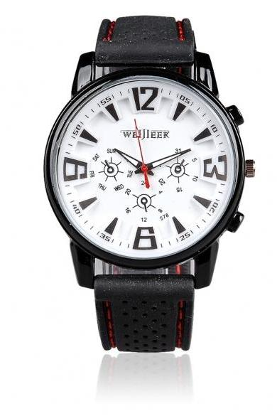 Fashion Military Leisure Quartz Personality Silicon Black White Wrist Watch