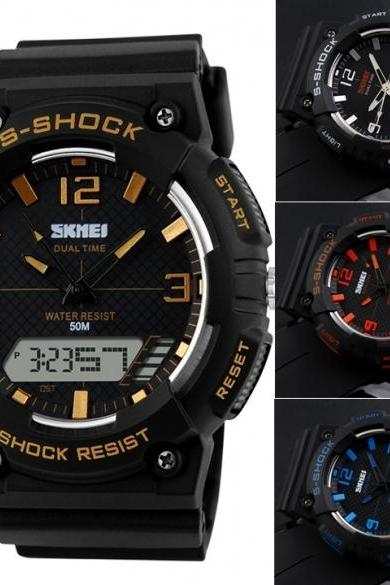 Hot Fashion Men Digital Date Alarm Waterproof Rubber Sports Watch Wristwatch