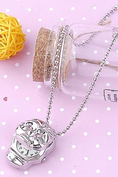 Fashion Metal Silver Skull Design Pocket Watch Necklace Chain