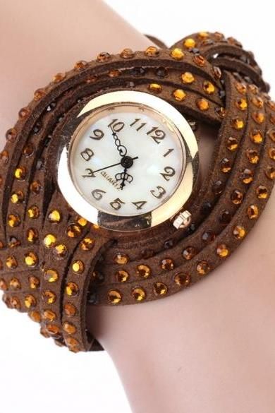 Women Vintage Round Dial Rhinestone Weave Wrap Synthetic Leather Bracelet Wrist Watch Watches