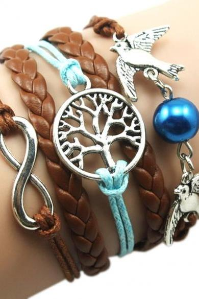 New Unisex Mix Infinity Manual Multi-layer Leather Cord Bracelet Love Bird Bead Bangle