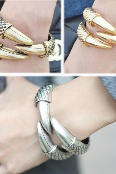 NEW Vintage Eagle Bird Claw 3 Talon Bangle Bracelet Clamp Cuff