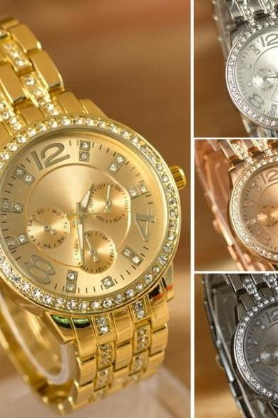 Luxury Gold Crystal Quartz Rhinestone Date Lady Women Wrist Watch