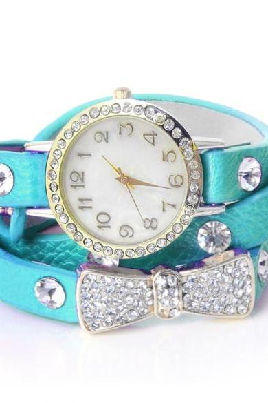 Wrap Around Bowknot Crystal Synthetic Leather Chain Women's Quartz Wrist Watches