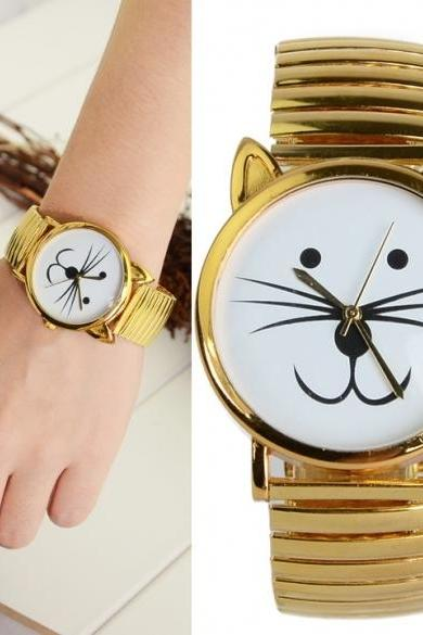 Unique Gold Tiger Cat Watch Unisex Bracelet Beard Watch