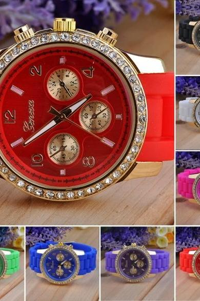 Diamante Wristwatches Ladies Silicone Jelly Watch Quartz