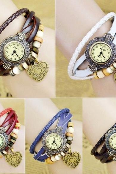 Stylish Quartz Weave Wrap Synthetic Leather Bracelet Girl's Wrist Watch