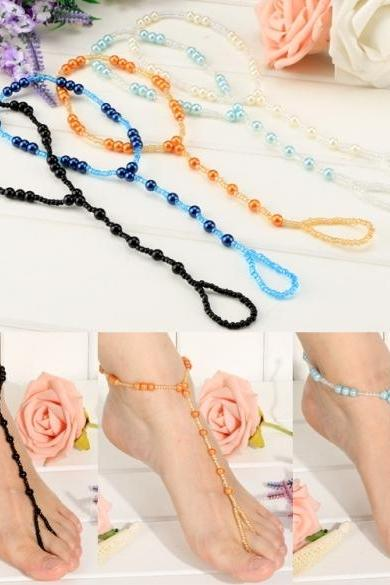 Hot Fashion Women Bohemia Style Elastic Beads Decor Sweet Beach Casual Anklets
