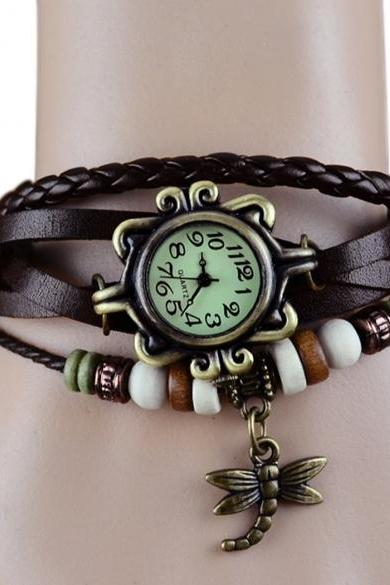 Women's Quartz Dragonfly Weave Wrap Synthetic Leather Bracelet Wrist Watch