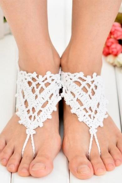 Hot Fashion Women Hand-made Knit Crochet Hollow Out Hearts Lace Up Beach Casual Anklets