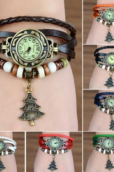 Women's Quartz Christmas Tree Weave Wrap Synthetic Leather Bracelet Wrist Watch