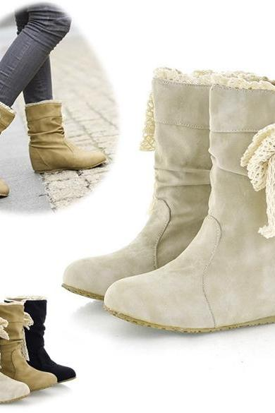 New Women's Casual Fashion Bobbin Lace Half Boots Flattie Single Boots Shoes 3Colors