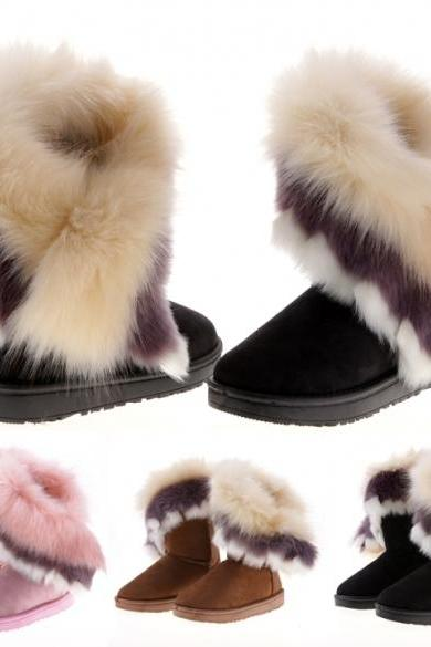 5bb917584870 Fashion New Women s Autumn Winter Snow Boots Ankle Boots Warm Synthetic Fur  Shoes 3 Colors
