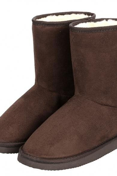 Fashion Women Winter Warm Solid Ankle Snow Boot Flat Heel Fleece Lined Size 37-40