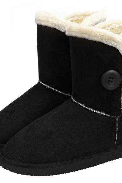 6ea3dd6ffb4c Women Winter Fashion Faux Fur Suede EVA Solid Button Closure Warm Short  Snow Boots