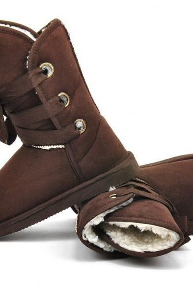 Winter Women Faux Fur Snow Boot Man-Made Ankle Buckle Biker Boots Shoes Size37-40 5colors