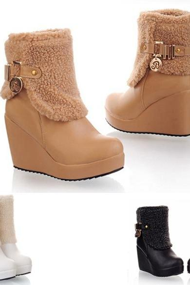 Women's High Heel Faux Fur PU Wedges Shoes Boots