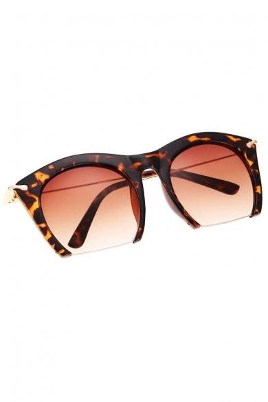 Hot Fashion Korean Unisex Retro Large Half-frame Sunglasses