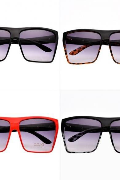 Unisex Retro Style Square Plastic Oversized Frame Eye Glasses Sunglasses