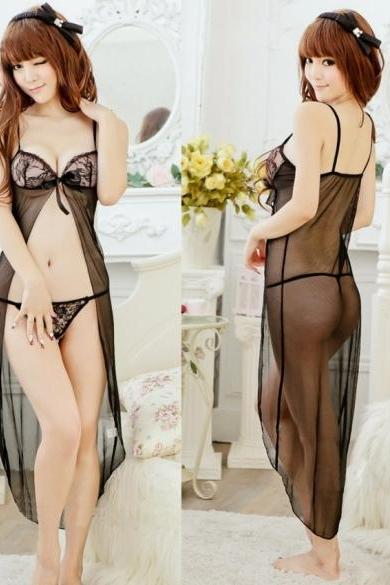 Women Charming See Through Lingerie Night Coat+ G-String Set