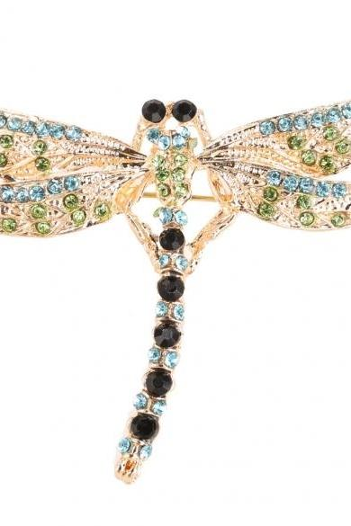 Women Fashion Jewelry Brooch Retro Lovely Dragonfly Shape With Rhinestone Scarf Lapel Pin Brooches