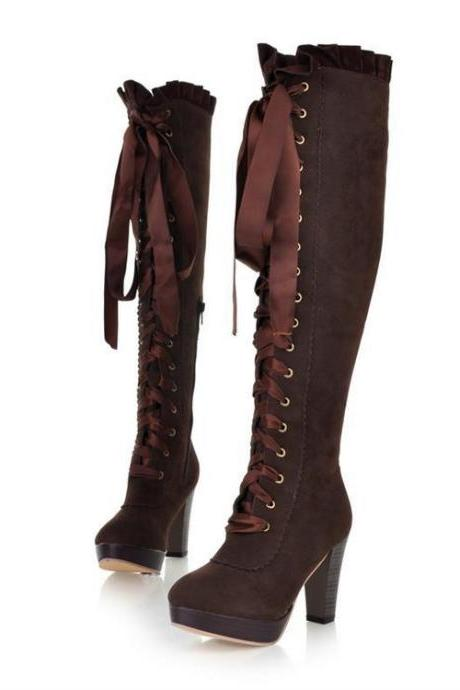 Fall Winter Thick High Heels Platform High Lace Up Boots