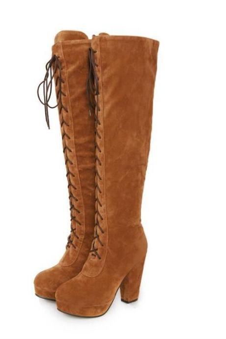 Suede Lace-up Chunky Heel Knee-High Boots