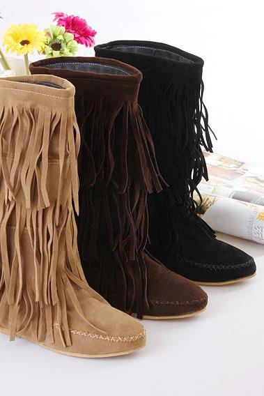 Hot Style Multi-Layered Tassel Leisure Short Boots Shoes