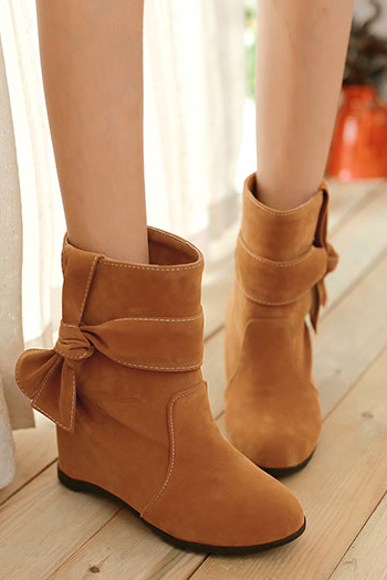 High Increased Bowknot Wedge Short Martin Boots