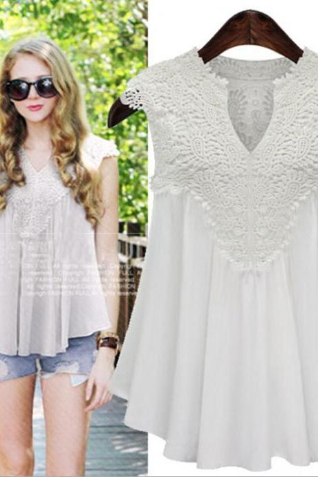 V-neck Sleeveless Lace Patchwork Drop Hem Chiffon Blouse