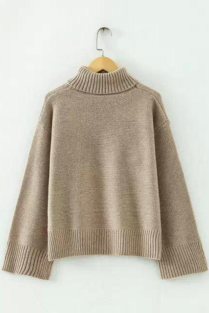 High-neck Batwing Cuff Pullover Loose Short Sweater