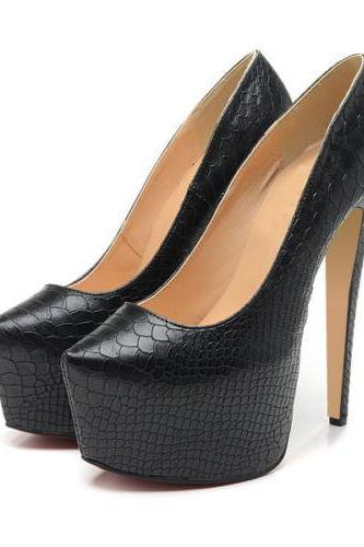 Snake Print Leather Pointed-Toe Platform High Heel Stilettos