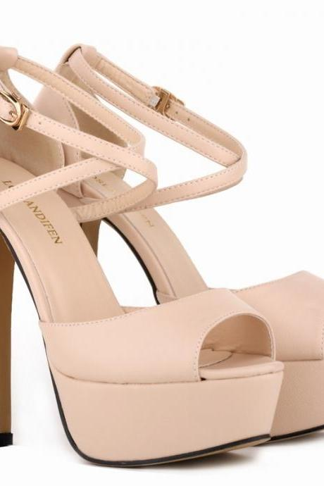 Nude Peep-Toe Stiletto Heel Pumps with Criss-Cross Straps