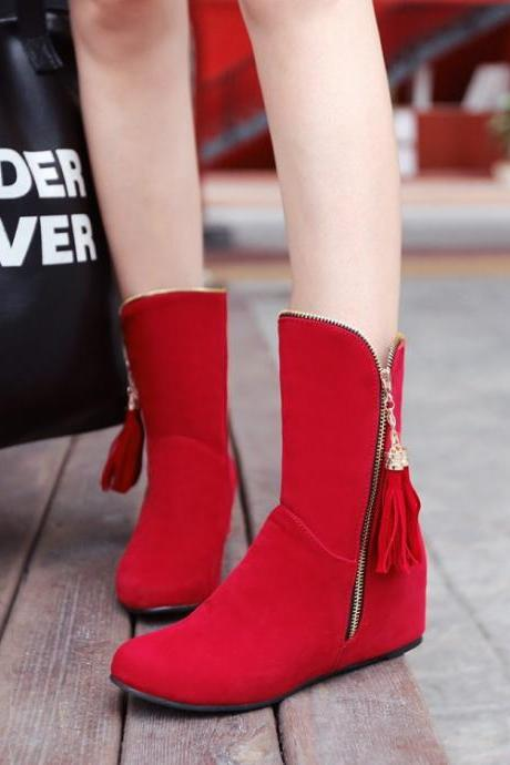 Fashion Tassel Side Zippered Short Boots