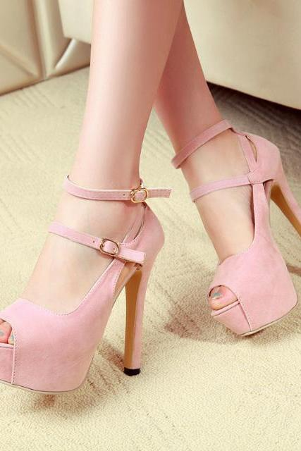 Double Buckle Bracelet Strap High Heeled Sandals