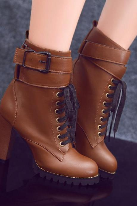 British Buckle Belt High Heels Lace-Up Martin Boots
