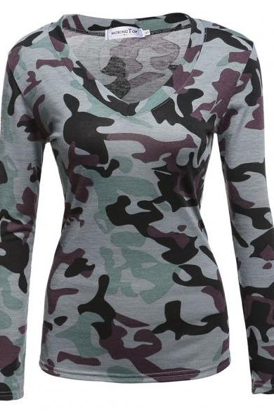 Women Fashion Casual Slim V Neck Long Sleeve Pullover Camouflage T-Shirt Tops