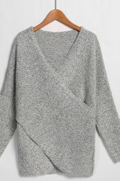 Fashion Women's V-Neck Drop-Shoulder Sleeve Cross Wrap Pullover Sweater
